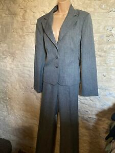 grey tailored suit jacket trousers size 14
