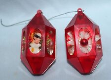 2 vintage plastic ornament red lanterns with snowman and flower jewelbright