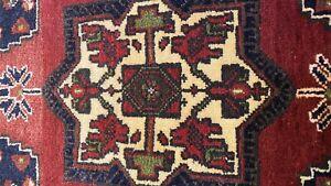 "Beautiful Vintage 1950-1960's Natural Dye Wool Pile Tribal Area Rug 1'9""x3'7"""