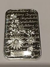 Congratulations Collectible Art Bar 1 Troy Ounce .999 Fine Silver Madison Mint