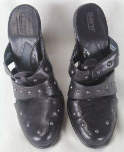 Born Alterna Black Slip On Heel Leather Studed Shoes M/W NIB