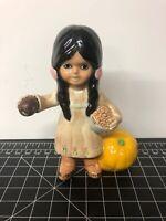"Vintage Hand Made Ceramic Figurine Native American Girl Fruits Folk Signed MM 4"""