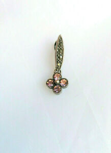 Sterling silver Marcasite and pink cubic zirconia floral pendant