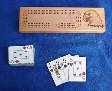 New wood eagle cribbage board 3 tracks pegs ROYAL all plastic playing cards