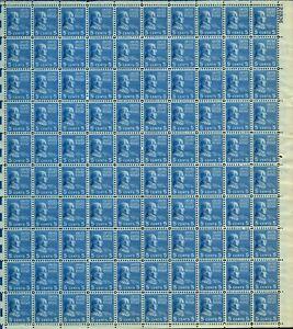 US #810 1938 5c Prexie, Monroe Full Sheet of 100. MNH F-VF