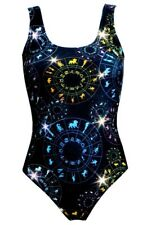 Astrology Horoscope Star Signs Zodiac Symbols Printed Swimsuit Bodysuit Leotard