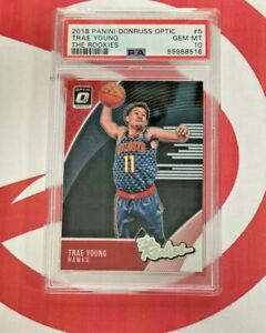 TRAE YOUNG RC 2018 Donruss Optic The Rookies Hawks #5 PSA GRADE 10  MINT ROOKIE