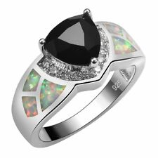 Mexican Style Trilliant Black Onyx White Fire Opal Silver Ring Size 7 Gift
