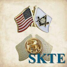 Masonic Lapel Hat Pin Freemason Square & Compass and US Flag Metal Pocket Badge