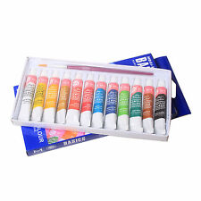 12 Color Acrylic Paint Set 6 ml Tubes Artist Draw Painting Pigment & Brush