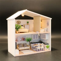 DIY Mini Loft Wooden 3D Dollhouse Kit Realistic House Room Toy Furniture IBUK