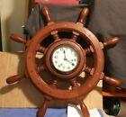 FRANZ HERMLE  BRASS 32-071 KEY WIND SHIPS WHEEL CLOCK GERMANY NO KEY WORKING