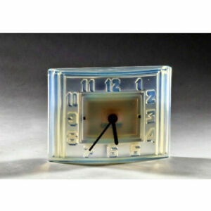 Table clock Art Deco signed Leon Hatot ATO Paris Translucent Crystal