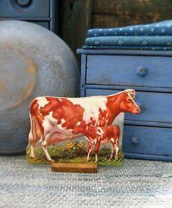 Antique Schoolhouse Cardboard Farm Animal Wood Stand Guernsey Cow & Calf