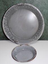 2 Vintage Antique Graniteware Pie  & Tart Pans Gray Enamel Speckled