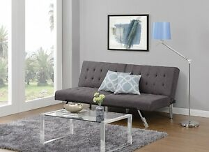 DHP Emily Futon Sofa Bed, Modern Convertible Couch With Chrome Legs Quickly Con