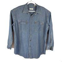 LL BEAN Denim Jean Faded Blue Button Down Shirt Metal Snaps Mens Size Large