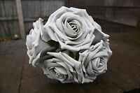 5 x SILVER GREY COLOURFAST FOAM OPEN LARGE ROSES 9cm  WEDDING FLOWERS CRAFT