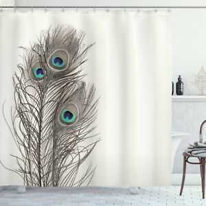 Natural Peacock Feather Ecru Shower Curtain Extra Long 84 Inch
