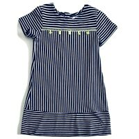 Crown & Ivy Navy Blue White Striped Tassel Dress SZ 5 Little Girl