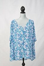 TORRID Blue Floral Chiffon Button Blouse Sheer Top Shirt Plus Size 4X NWT $38.50
