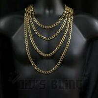 18K Gold Cuban Miami Chain Solid Heavy Stainless Steel Curb Link Mens Necklace