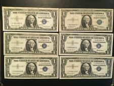 USA  (6 Notes)  1 Dollar 1957,  1957 B,  1935 F  -- All STAR notes  -- Silver