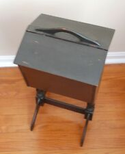Antique 1930's Solid Mahogany Cantilever w Tray Sewing Box Chest  Caddy Black