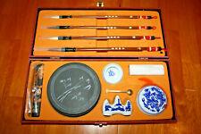 Chinese Traditional Calligraphy Set Brush Pen/Inkstone/Pen Rack/Seal (White)