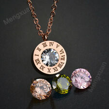 Fashion Women Jewelry Replaceable CZ Stone Roman Number Necklace for Wedding Rose Gold a