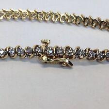 18K Yellow Gold 1.01ct Diamonds Tennis Bracelet (J509)