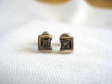 Boma, Italy- .75 Ct. Smokey Topaz Solitaire  Sterling Silver 'Box' Earrings