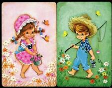 CUTE LITTLE GIRL AND BOY SWAP/PLAYING CARDS (BRAND NEW) GREEN AND PINK THEME