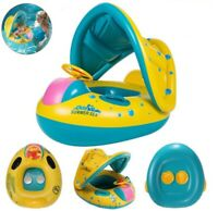 Inflatable Circle Boat with Seat Canopy Baby Float Swimming Pool Ring Toddler WW