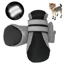 4pcs/pack Black Dog Shoes Non Slip Boots Socks for Small Large Dogs Reflective