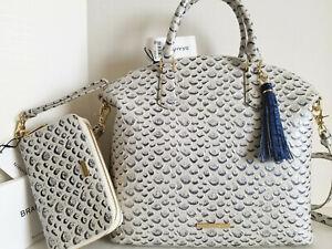 🌹Brahmin Large Duxbury Satchel Creme Vreeland Blue White Leather Bag+Wallet NWT