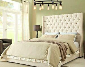 Bespoke Spanish Grandeur Upholstered Chesterfield Wingback Bed Frame
