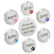 25mm Metal Dog Tag Paw Rhinestone Pet Cat ID Name Engraved Key Charm Ring Chain
