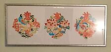 Long Oriental Print Collage of Floral Motifs with Birds