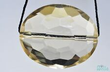 24mm CHAMPAGNE CRYSTAL QUARTZ Faceted Oval Bead Pendant J0376