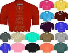 Plus Size Womens Crochet Knitted Short Sleeve Shrug Ladies Cardigan Bolero Top