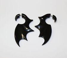 Black Bat  Wings  Horn Fake Gauge Earrings  hand carved naturally faux gauges