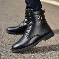 Men's  Winter Warm Outdoor Casual Fur Lined Winter Shoes   Leather Knight Boots