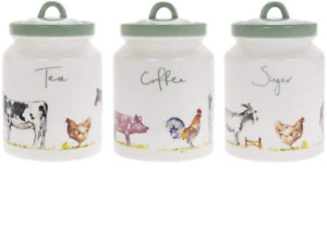 Set of Tea Coffee Sugar Canisters China Storage Container Farmyard Animals Farm