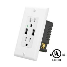 High Speed 4.2A Dual USB Port Wall Outlet Charger Receptacle w/ Wall Plate TR UL