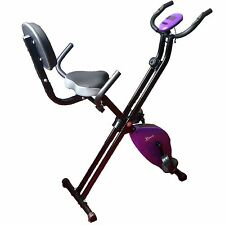 Folding Exercise Bike Pulse Recumbent Magnetic 2.5kg Flywheel, Back Rest Purple