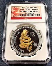 2012 Gilt Nice $2 1oz Silver Dragon NGC PF69 Ultra Cameo