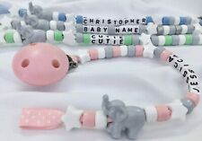 🐘PERSONALISED DUMMY CLIPS 🐘 ELEPHANT 🐘 MAX 12 Letters 🐘 BUY 2 GET 1 FREE **