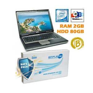 """Dell D620 2 Duo 14 """" 2GB 80GB HDD RS232 Clavier Ita Batterie Neuf Windows 2000"""