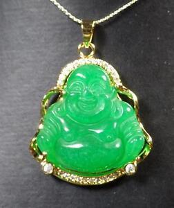 Yellow Gold Plate Green JADE Pendant Buddha Necklace Diamond Imitation 286615